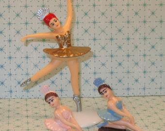 Gold 5 Inch Ballerina with Kneeling Ballerina's Cake Topper  (3 pc Set)