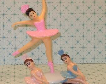 Pink 5 Inch Ballerina Cake Topper Set   (3 Piece Set)