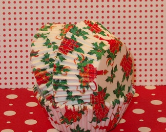 Bell, Candles and Holly Cupcake Liners  (Qty 40)  Christmas Cupcake Liners, Christmas Baking Cups, Holiday Baking Cups, Holiday Liners