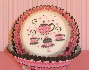 Retro Inspired Tea Party Cupcake Liners  (Qty 40)