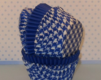 Blue and White Houndstooth Mixed with Blue Solid Cupcake Liners  (40)