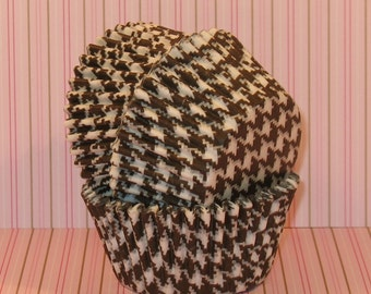 Brown and White Houndstooth Cupcake Liners  (45)
