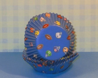 Blue Football Cupcake Liners  (33)  Limited Quantity