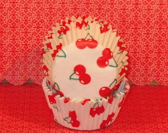 Cherry Tart Liners.....Untraditional Size - Read Before Ordering  (40)  Cupcake Liners, Baking Cups, Novelty Cupcake Liners