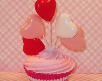 Pink, Red and White Heart Balloon Picks   (Qty 3)