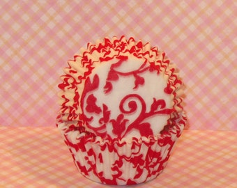 Red and White Ivy Cupcake Liners  (45)