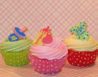 Vintage Inspired Baby Shower Ring Cupcake Toppers   (12)