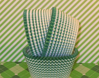 Green Crazy Stripe Cupcake Liners  (Qty 40)