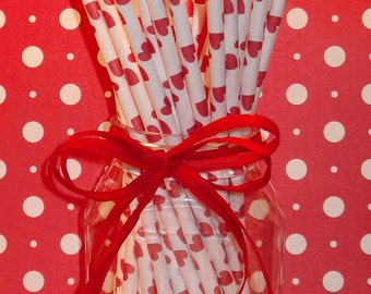Red Hearts Paper Straws with DIY Flag Toppers (25)  Red Hearts Straws, Red Heart Drinking Straws, Paper Straws, Drinking Straws, Retro Straw