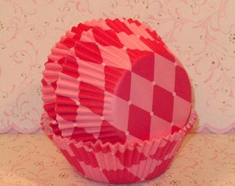 Pink Harlequin Cupcake Liners  (40)