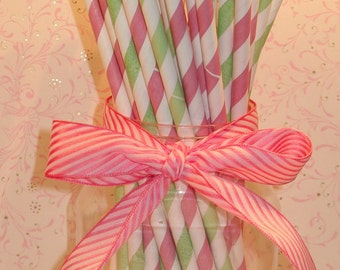 Blush Pink and Green Stripe Paper Straws with DIY Flag Toppers  (24)