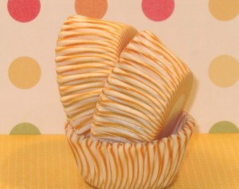 MINI Yellow and White Carnival Stripe Cupcake Liners  (45)