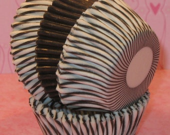 MINI Black and White Carnival Stripe with Black Cupcake Liners  (40)