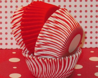 MINI Red and White Carnival Stripe Mixed with Red Cupcake Liners  (40)