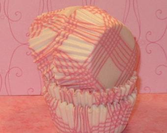 MINI Pink and White Plaid Cupcake Liners  (45)