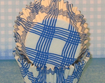 Blue Country Plaid Cupcake Liners    (Qty 45)