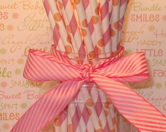 Blush Pink Stripe and Orange Dot Straws with DIY Flag Toppers (24)