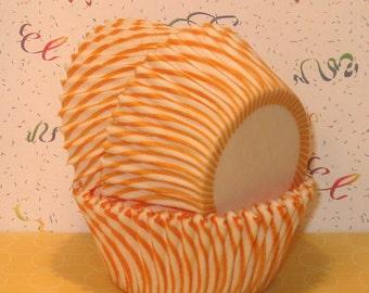 Sunset Yellow Carnival Stripe Cupcake Liners   (Qty 45)