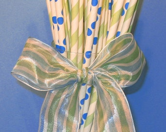 Green Stripe with Blue Dots Paper Straws with DIY Flag Toppers (24)