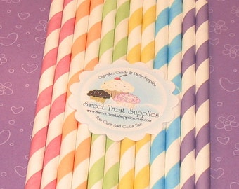 Spring Stripes Paper Straws with DIY Flag Toppers (30)