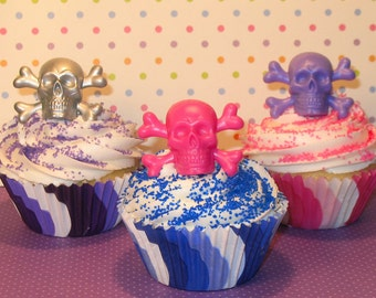 Assorted Skull and Crossbones Cupcake Ring Toppers  (12)