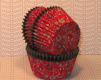 Western Red Bandana Cupcake Liners   (32)