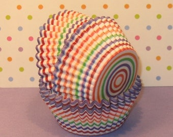 Rainbow Brites Striped Cupcake Liners  (40)