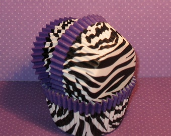 Purple Trim Zebra Cupake Liners  (32)