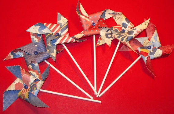 Red, White and Blue Patriotic Pinwheels - Americana Collection  (6)