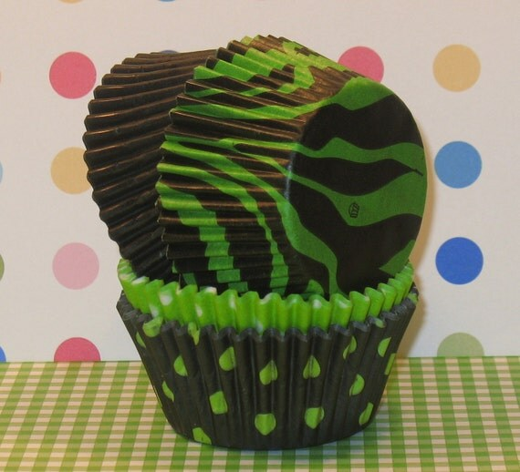 Green Zebra Print Cupcake Liner Party Pack  (Qty 32)  Zebra Print Cupcake Liners, Lime Green Dot Cupcake Liners, Black Cupcake Liners
