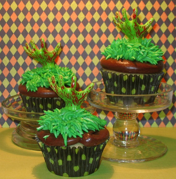 Goulish Monster Hand Cupcake Picks   (12)