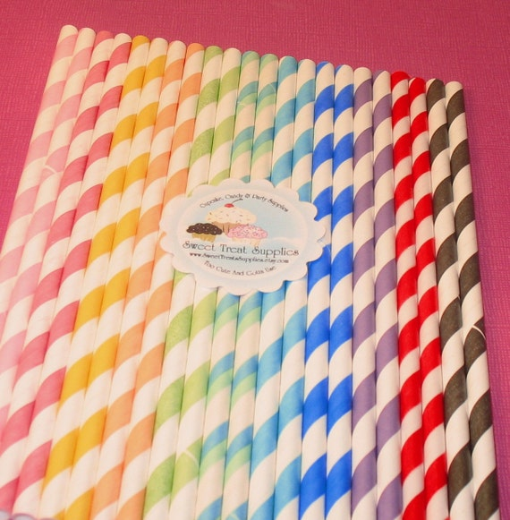 Entire Striped Straw Collection with DIY Flag Toppers (55)