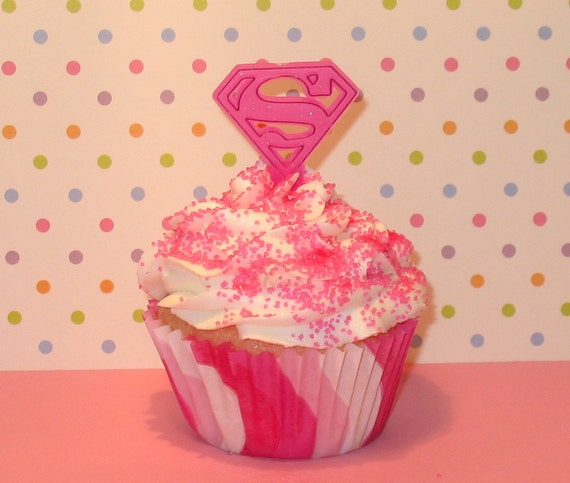 Reserved for Lynzey Pink Superman Cupcake Picks  (12)