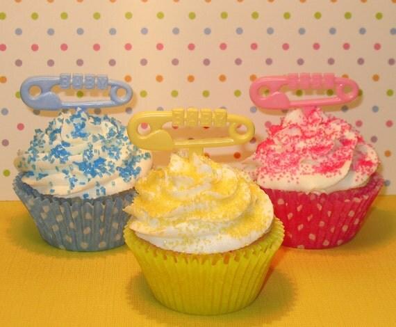 Baby Safety Pin Cupcake Picks   (12)