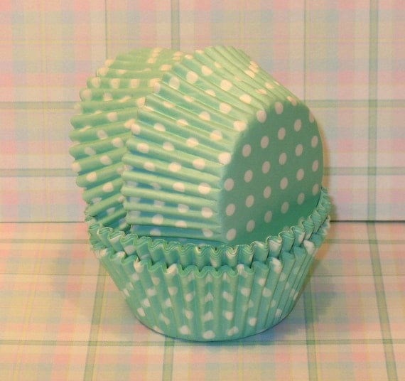 Mint Green Polka Dots Cupcake Liners  (45)