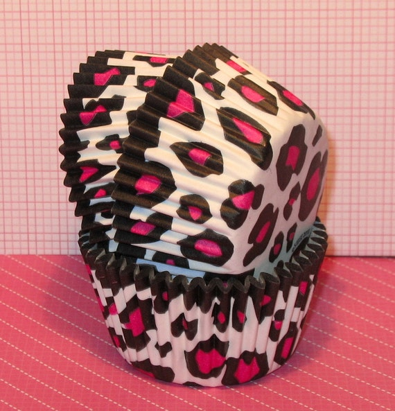 Hot Pink Leopard Cupcake Liners  (Qty 32)  Pink Leopard Cupcake Liners, Hot Pink Leopard Baking Cups, Pink Leopard Baking Cups, Muffin Cups