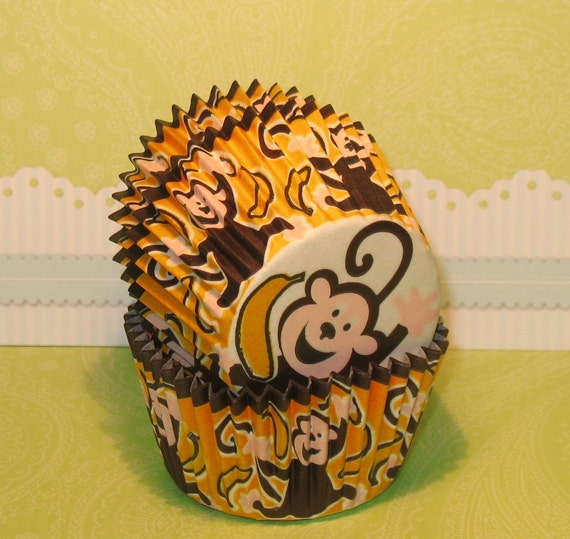Gone Banana's Monkey Cupcake Liners  (32)