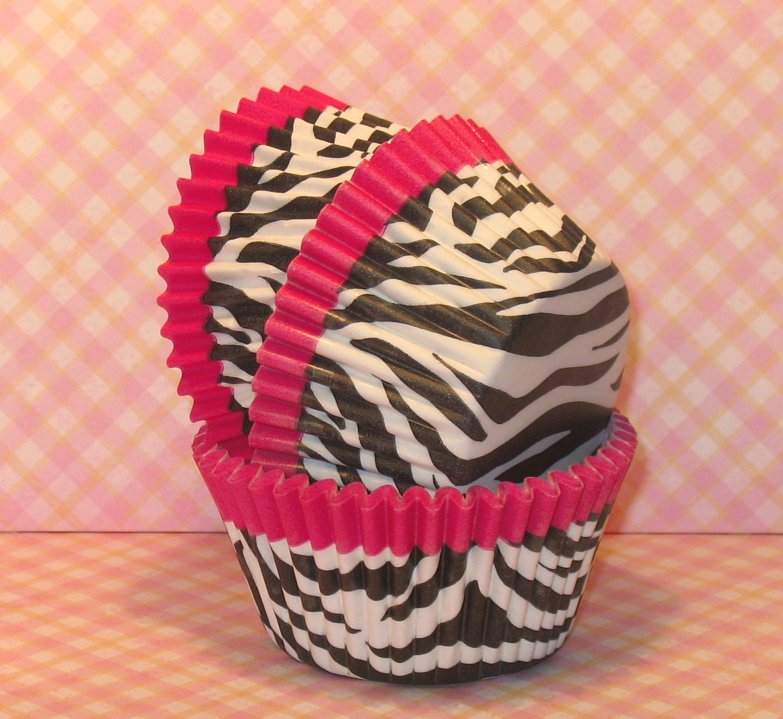 Hot Pink Trim Zebra Print Cupcake Liners Qty 32