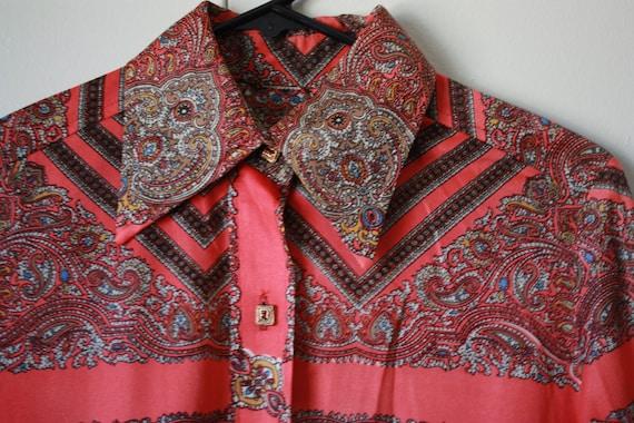 70s Paisley psychadelic blouse