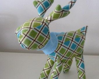 Ralphie Reindeer, Green and Blue Handmade Softie Stocking Stuffer