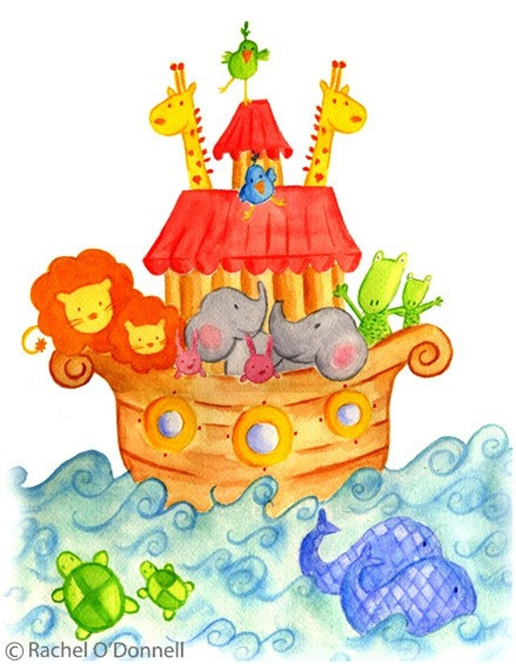 Nursery Wall Art, Noahs Ark Watercolor Print