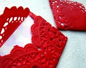 Red Lace - set of 5 Envelopes and Cards - Mini - Style One