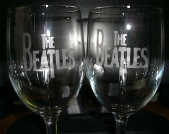 Set Of 2 Beatles Wine Glasses
