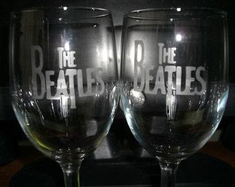 Set Of 12 Beatles Wine Glasses