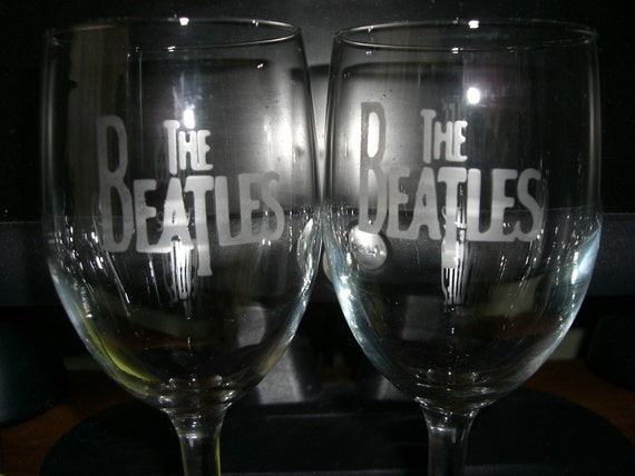 Set Of 12 Beatles Wine Glasses