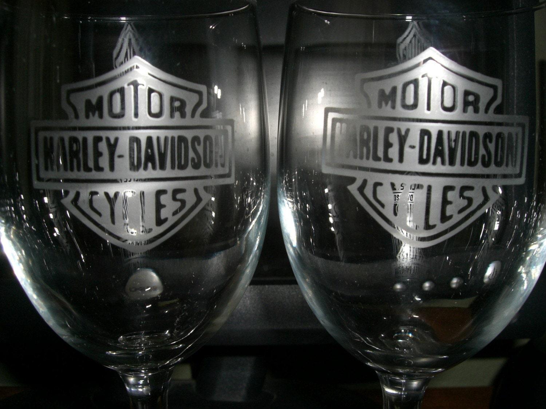 set of 2 harley davidson wine glasses