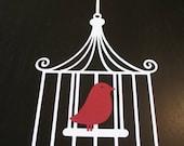 Large White Paper Bird Cage - Red Bird