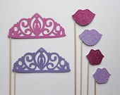 Photo Booth Prop Set  - Glittered Princess. Photo Booth Props - Princess Parties, Birthdays, Weddings, - Photobooth Props. Set of Six