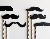 Paper Straws Mustache on Straw Stick. Photo Booth Props
