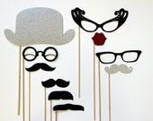 Photobooth Props. Photo Prop. Wedding Photo Props on a Stick. Mad Men